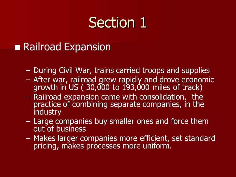 Section 1 Railroad Expansion