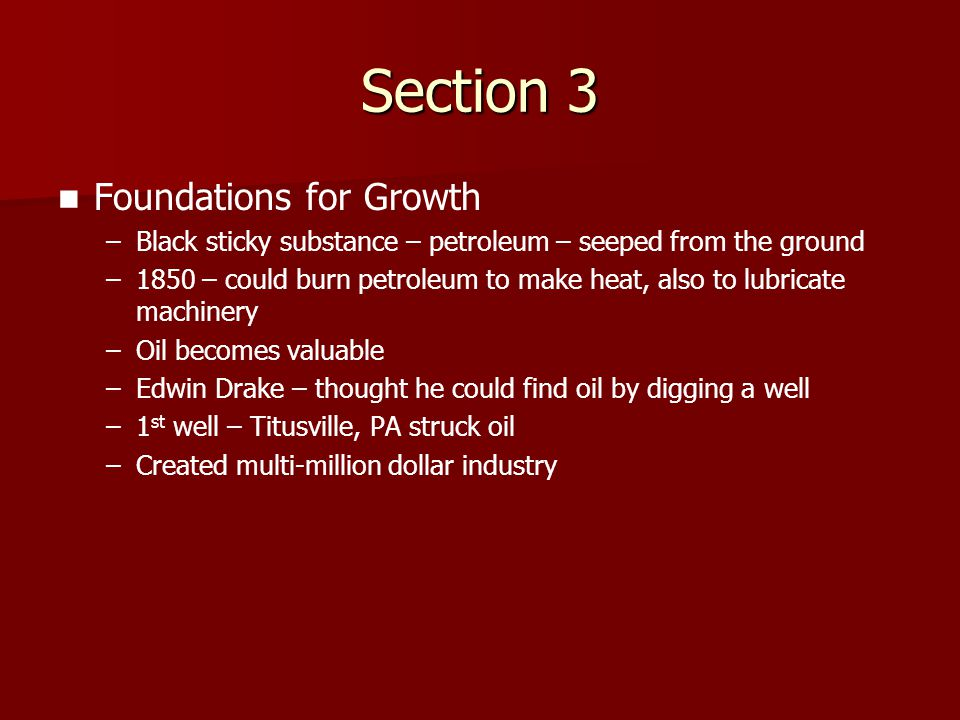 Section 3 Foundations for Growth