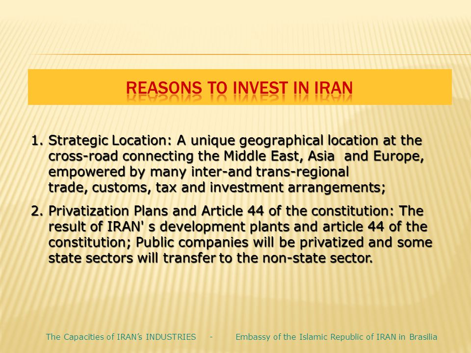 Reasons to Invest in Iran