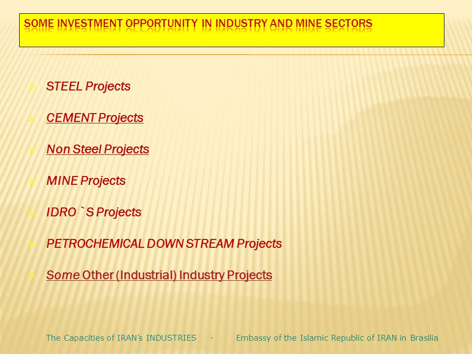 Some INVESTMENT OPPORTUNITY in INDUSTRY and MINE SECTORS