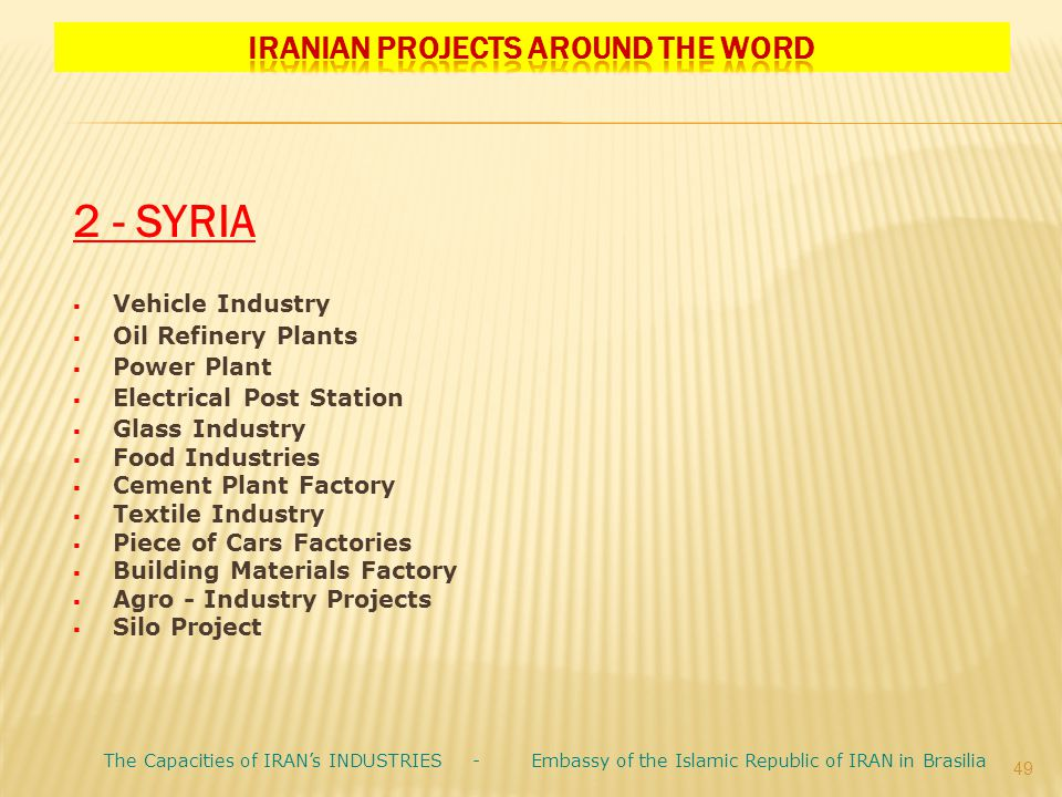 Iranian Projects Around the Word