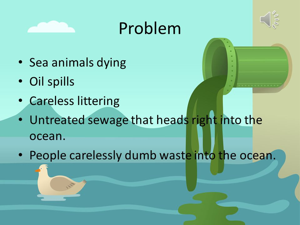 Problem Sea animals dying Oil spills Careless littering