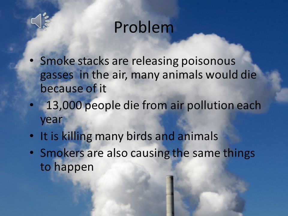 Problem Smoke stacks are releasing poisonous gasses in the air, many animals would die because of it.