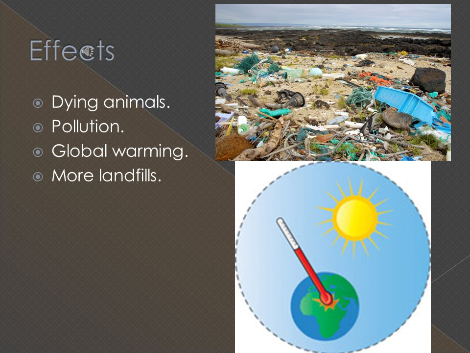 Effects Dying animals. Pollution. Global warming. More landfills.
