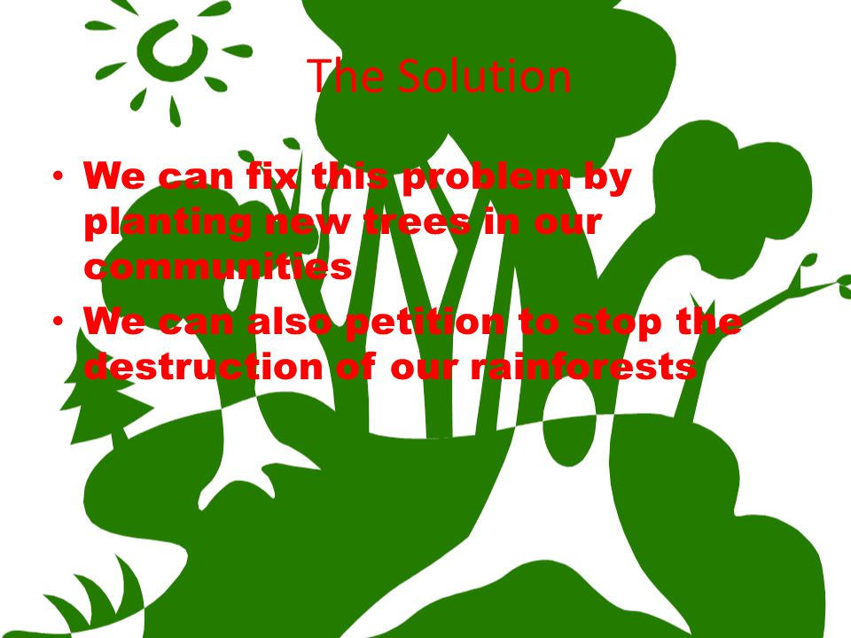 The Solution We can fix this problem by planting new trees in our communities.