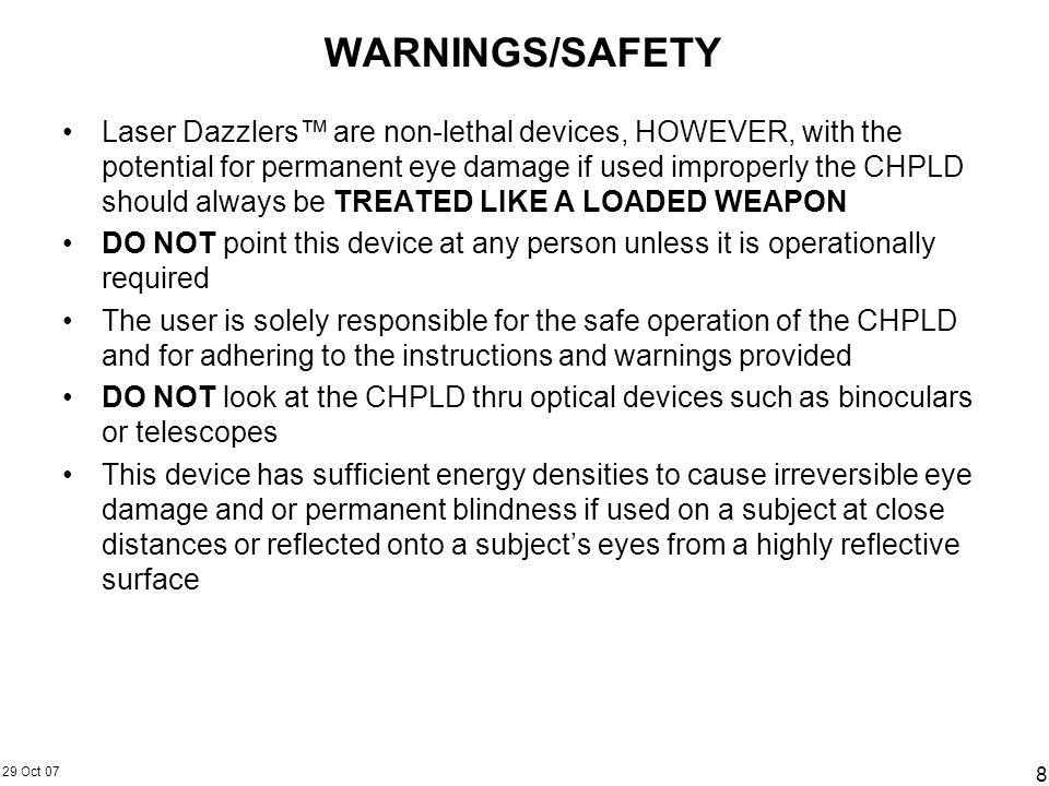 WARNINGS/SAFETY