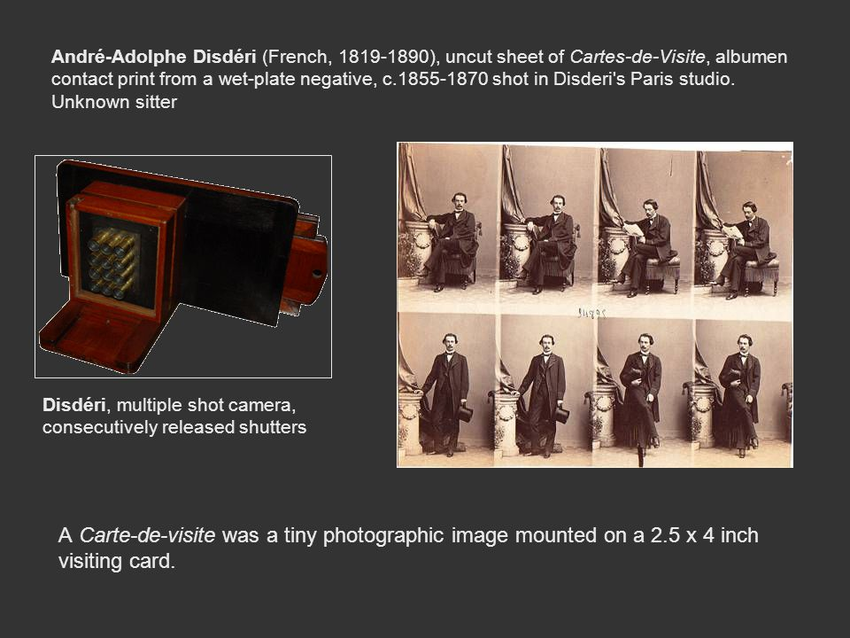 André-Adolphe Disdéri (French, 1819-1890), uncut sheet of Cartes-de-Visite, albumen contact print from a wet-plate negative, c.1855-1870 shot in Disderi s Paris studio. Unknown sitter