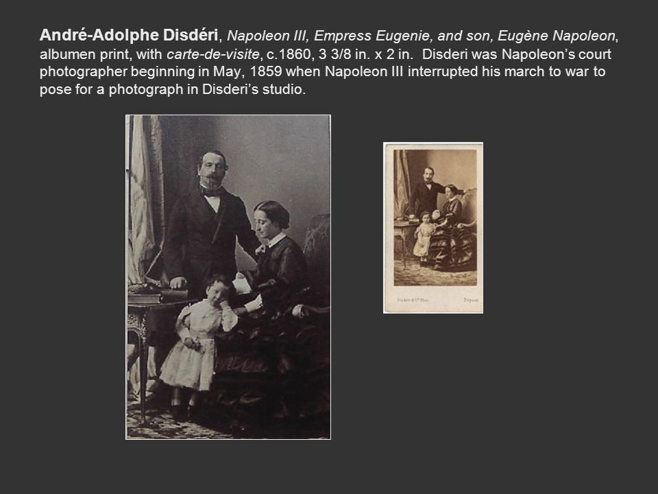 André-Adolphe Disdéri, Napoleon III, Empress Eugenie, and son, Eugène Napoleon, albumen print, with carte-de-visite, c.1860, 3 3/8 in.