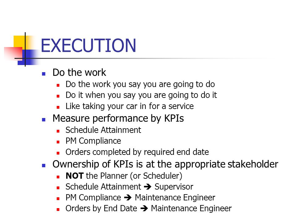 EXECUTION Do the work Measure performance by KPIs