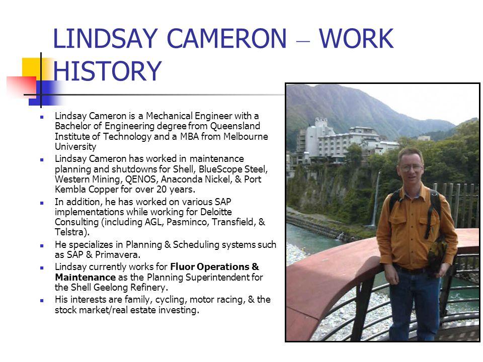 LINDSAY CAMERON – WORK HISTORY