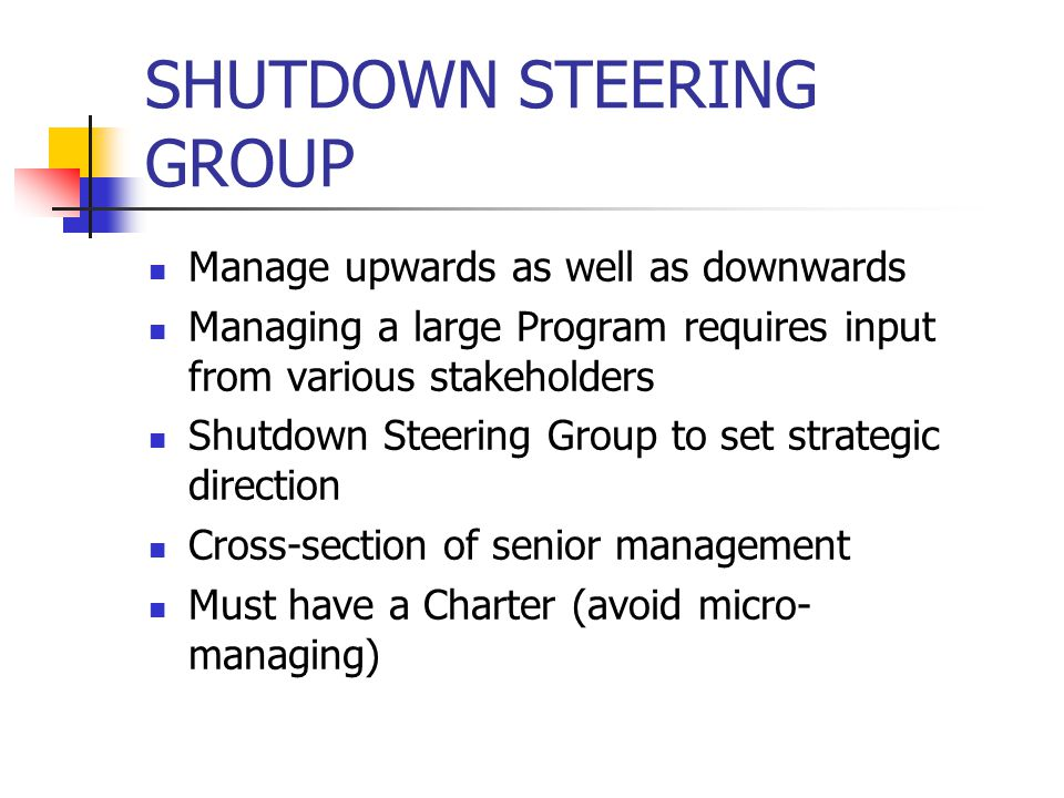 SHUTDOWN STEERING GROUP