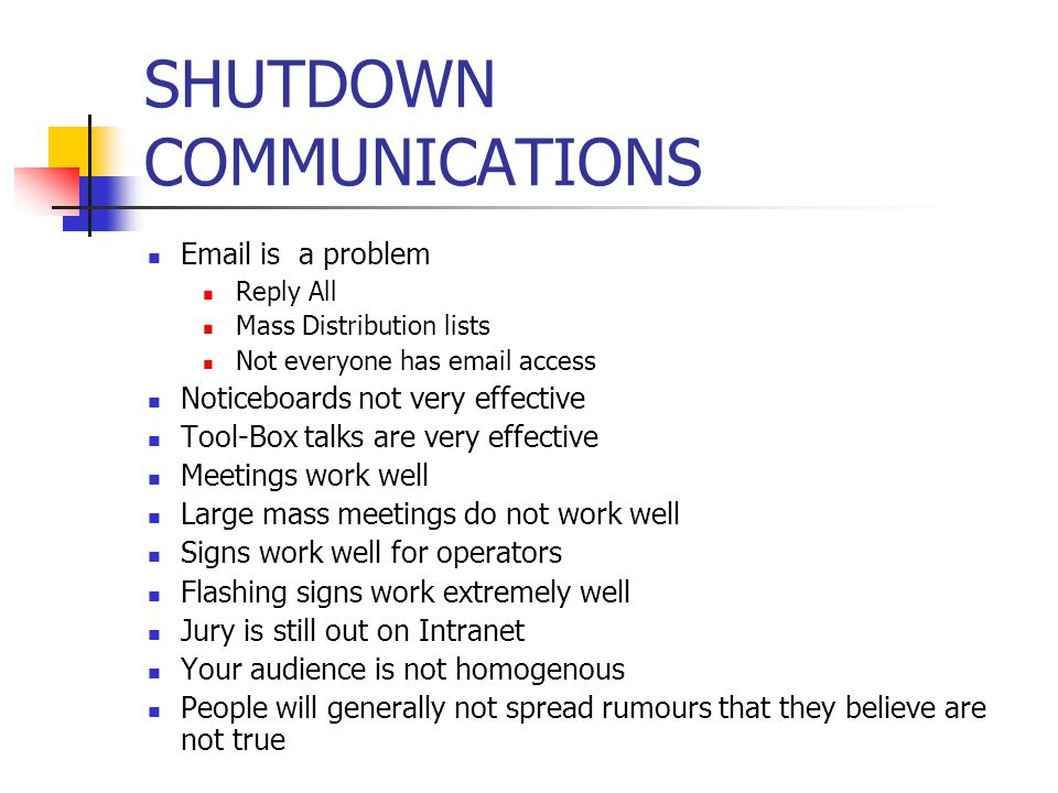 SHUTDOWN COMMUNICATIONS