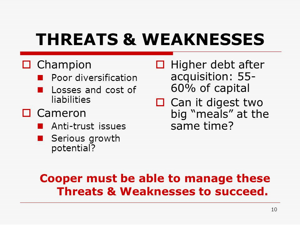 Cooper must be able to manage these Threats & Weaknesses to succeed.