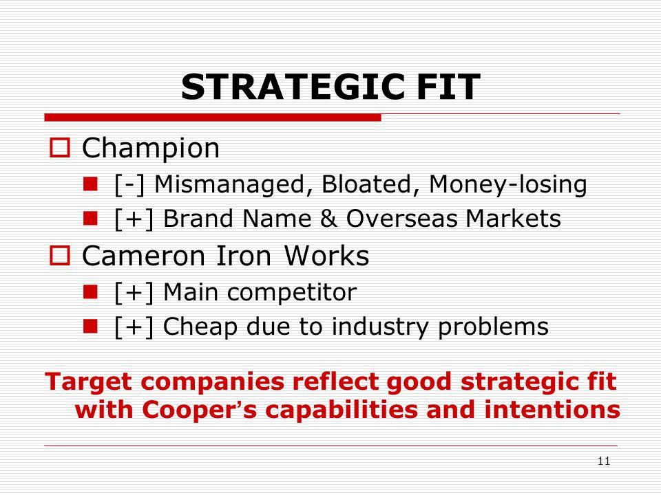 STRATEGIC FIT Champion Cameron Iron Works