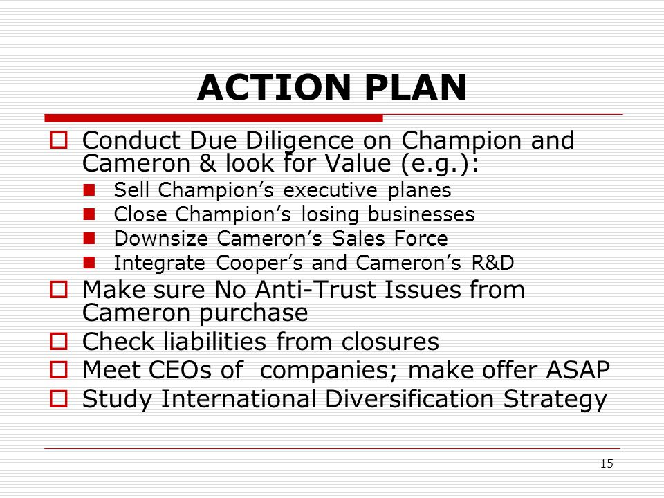 ACTION PLAN Conduct Due Diligence on Champion and Cameron & look for Value (e.g.): Sell Champion's executive planes.
