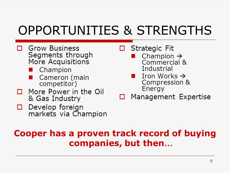 OPPORTUNITIES & STRENGTHS