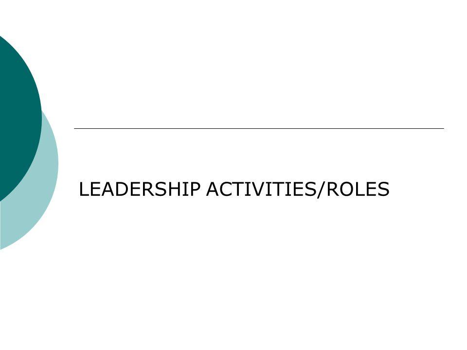 LEADERSHIP ACTIVITIES/ROLES