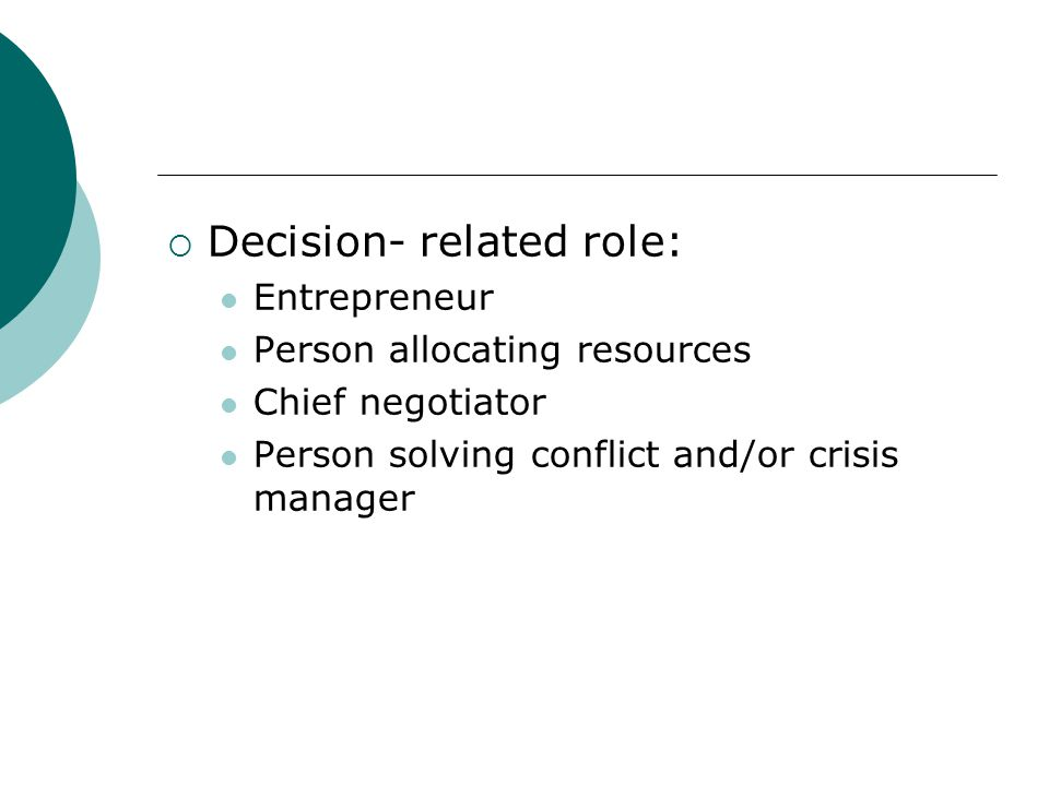 Decision- related role: