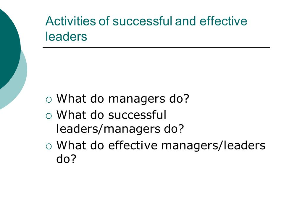 Activities of successful and effective leaders