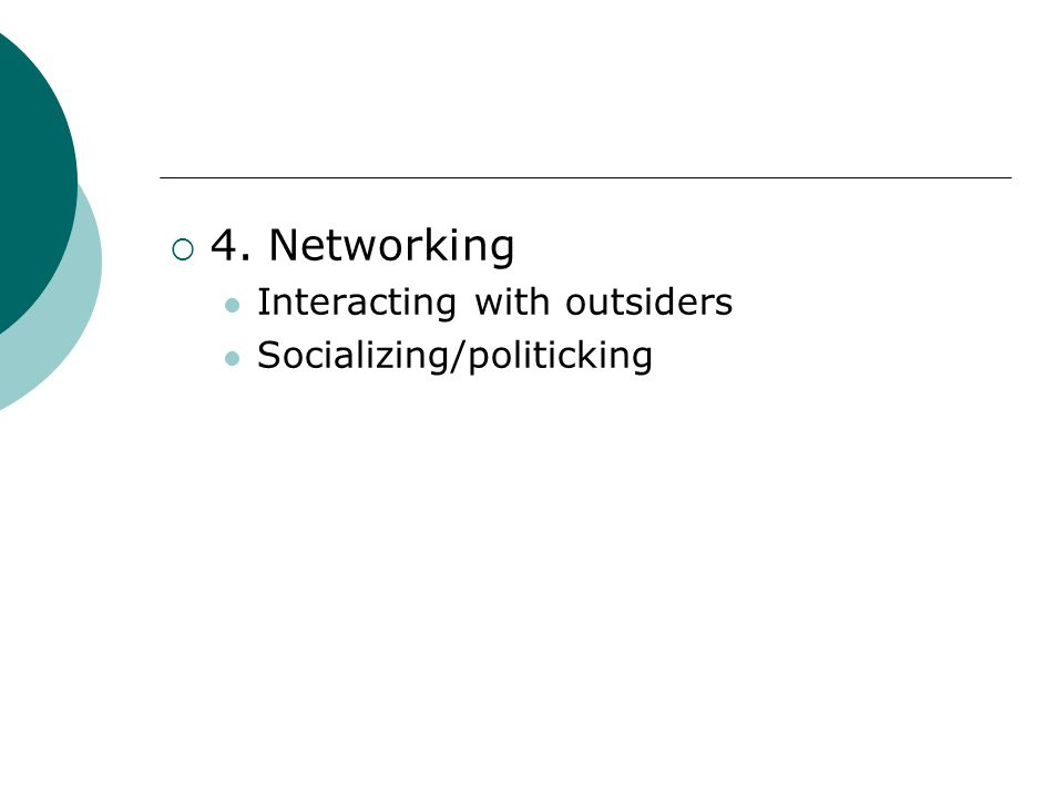 4. Networking Interacting with outsiders Socializing/politicking