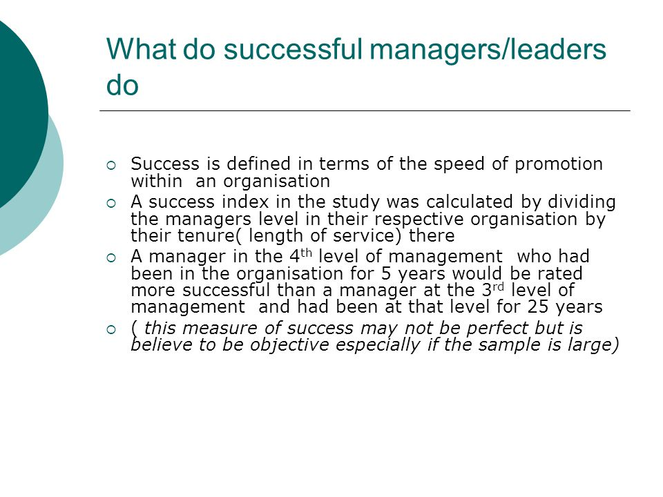 What do successful managers/leaders do