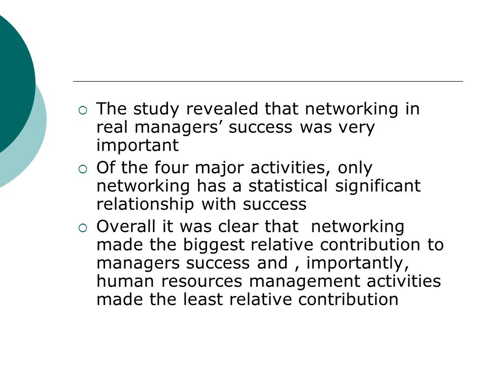 The study revealed that networking in real managers' success was very important