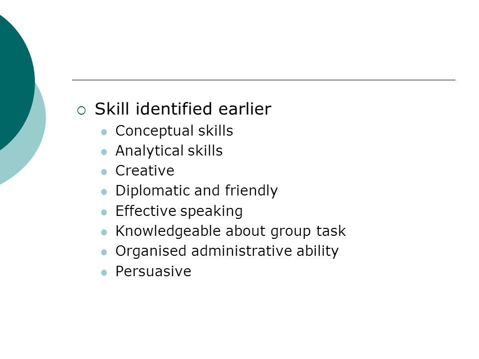 Skill identified earlier