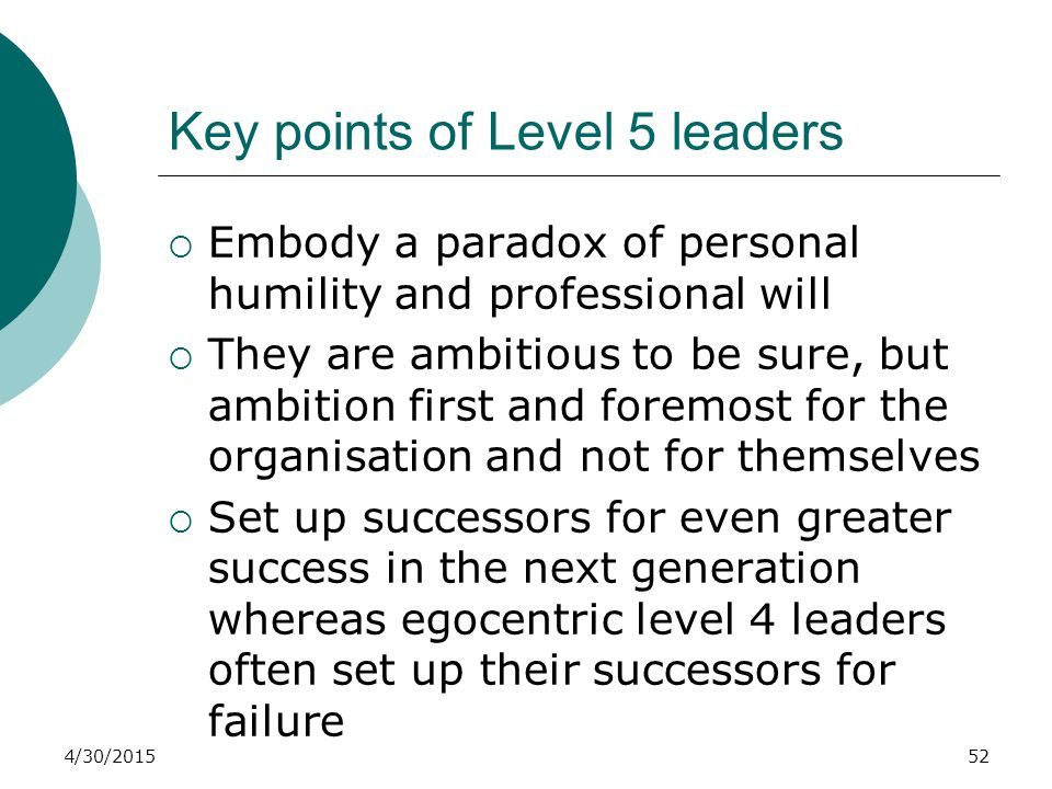 Key points of Level 5 leaders