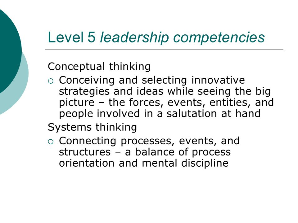 Level 5 leadership competencies