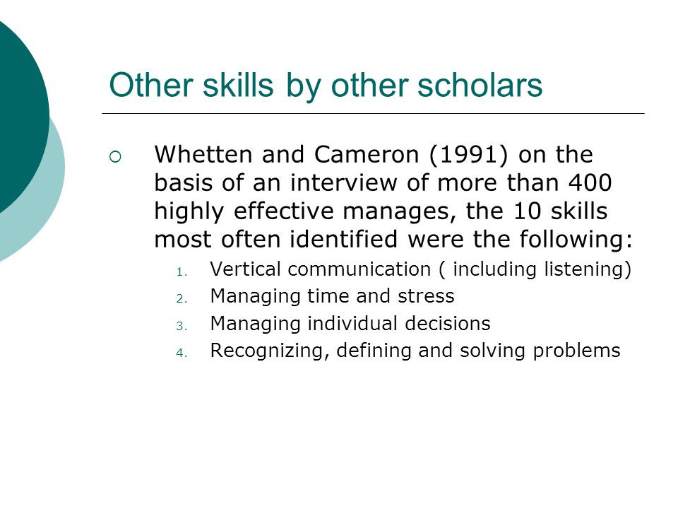 Other skills by other scholars