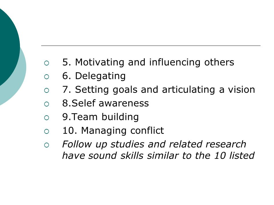 5. Motivating and influencing others