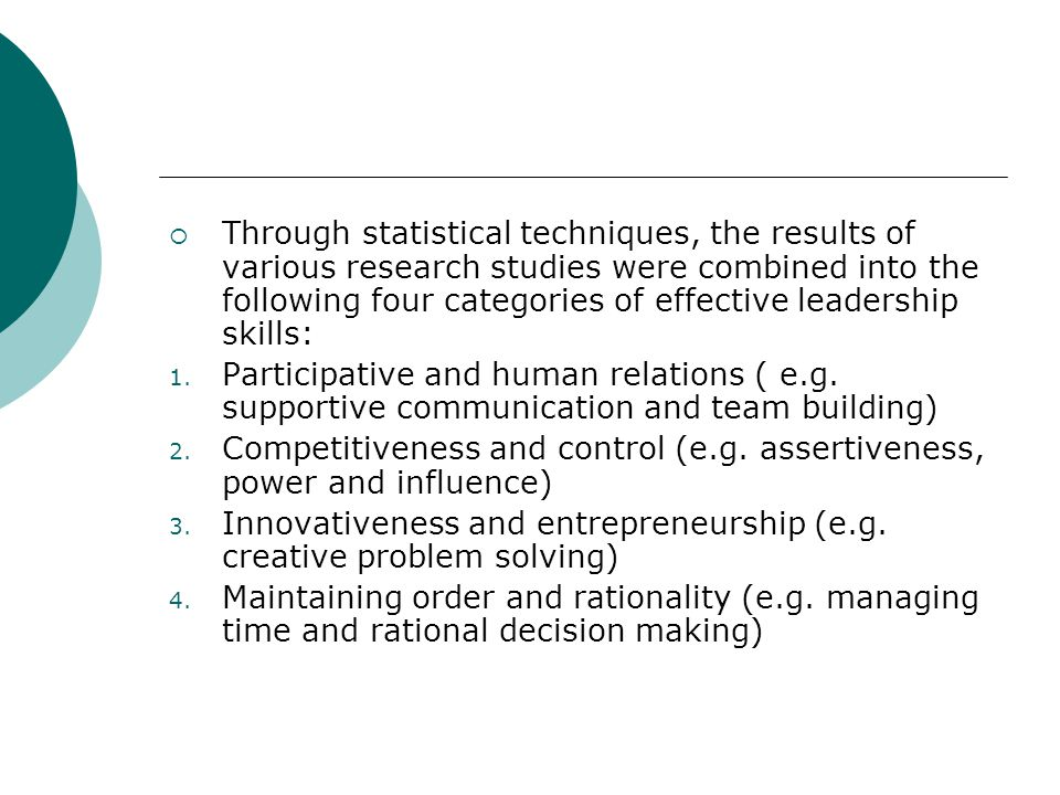 Through statistical techniques, the results of various research studies were combined into the following four categories of effective leadership skills: