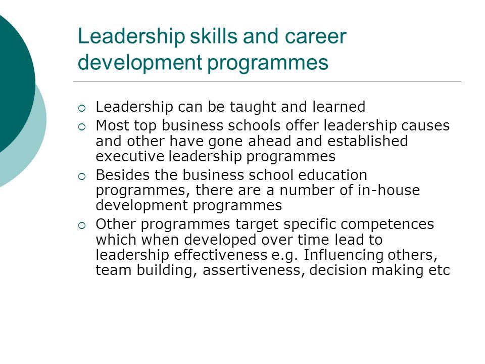 Leadership skills and career development programmes