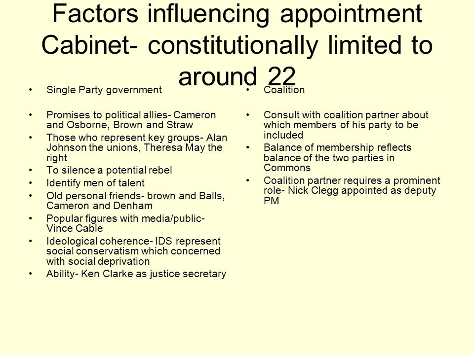 Factors influencing appointment Cabinet- constitutionally limited to around 22