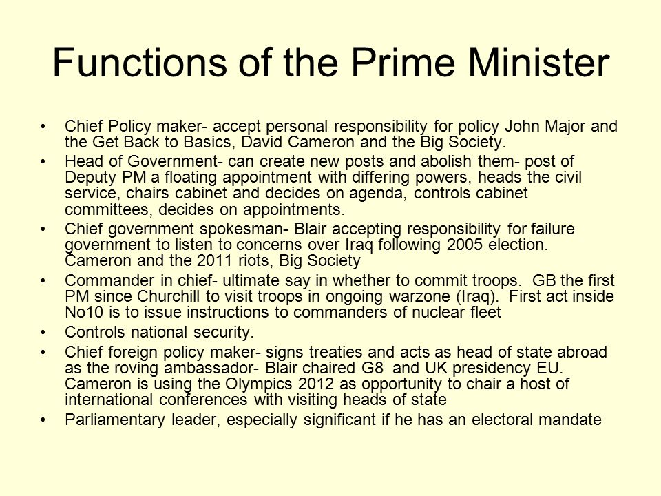 Functions of the Prime Minister