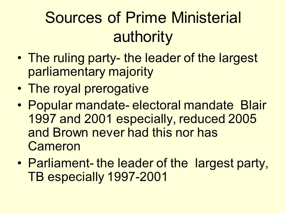 Sources of Prime Ministerial authority