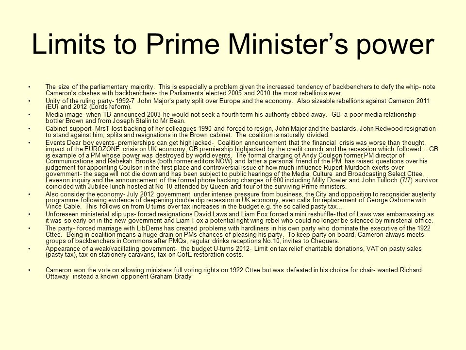 Limits to Prime Minister's power