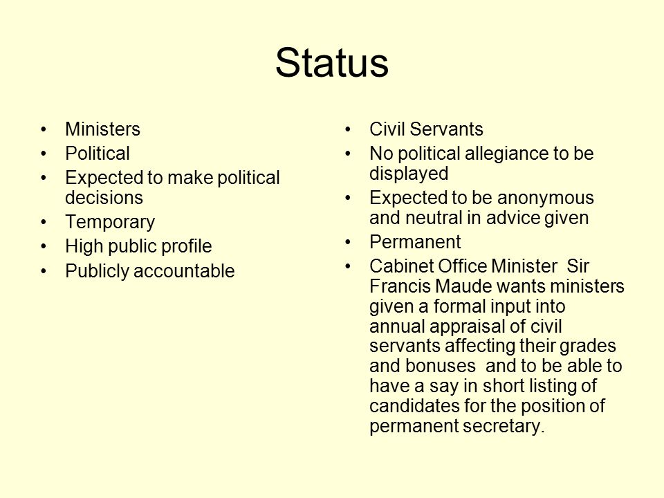 Status Ministers Political Expected to make political decisions