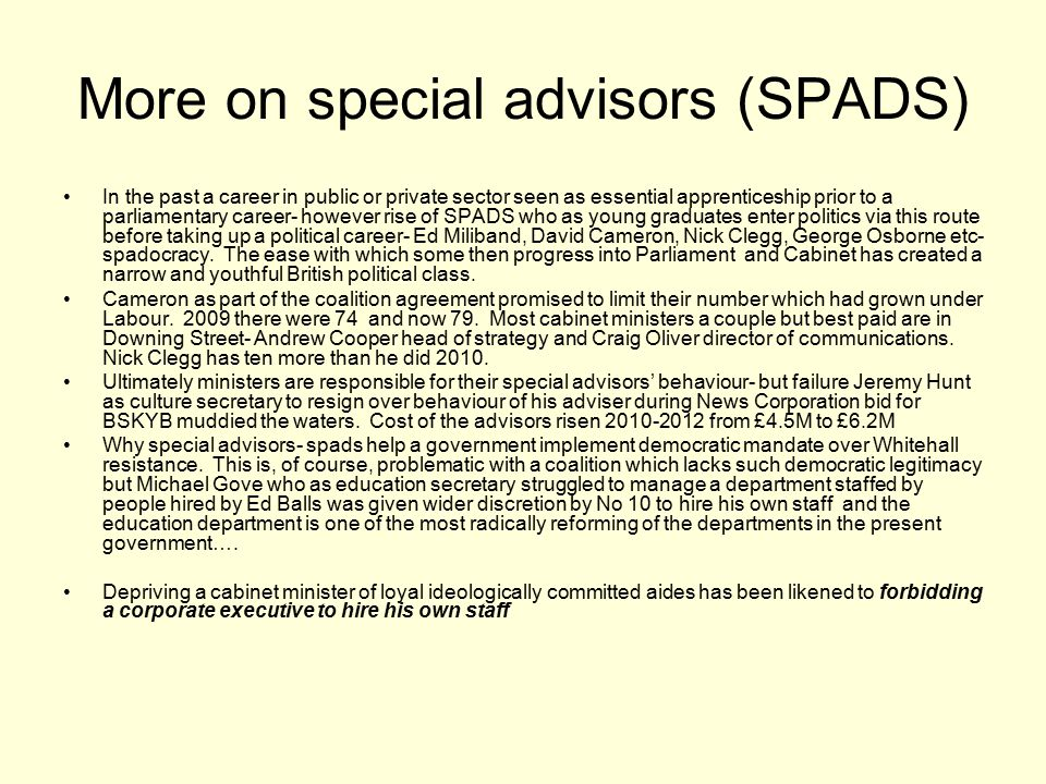 More on special advisors (SPADS)