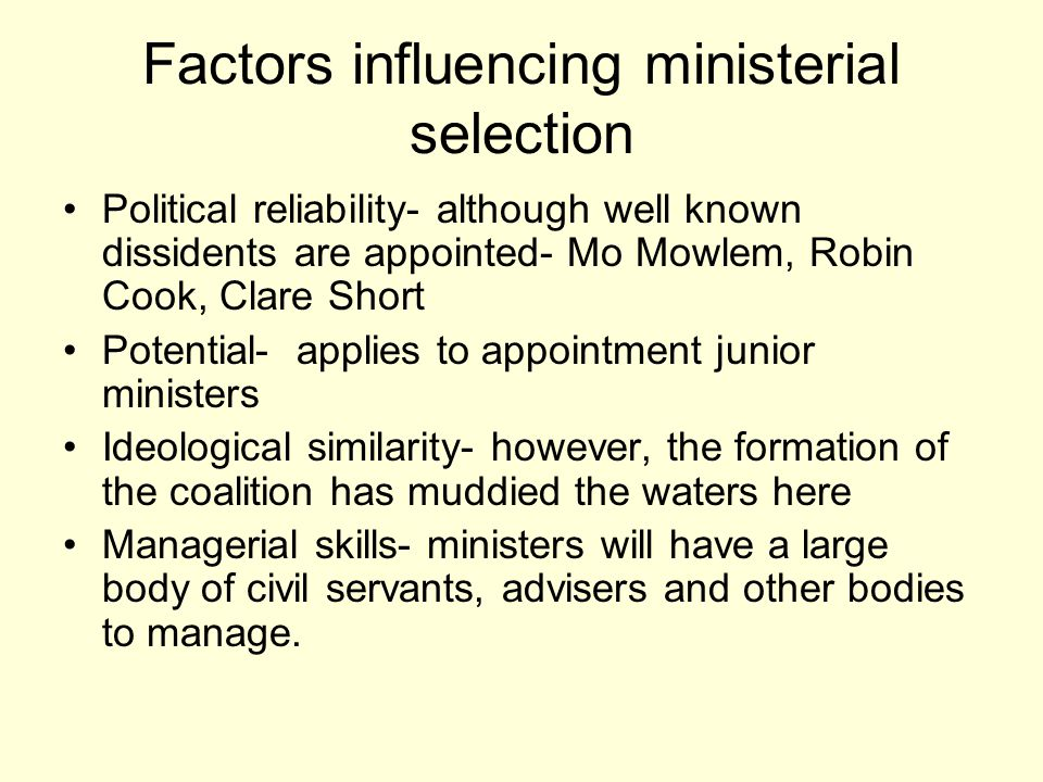 Factors influencing ministerial selection