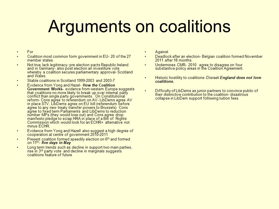 Arguments on coalitions