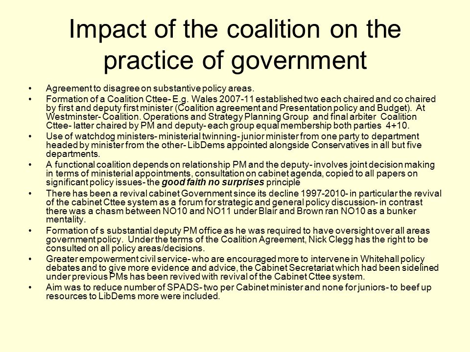 Impact of the coalition on the practice of government