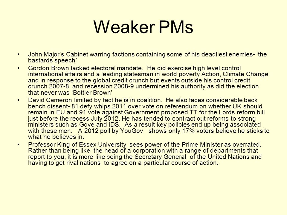 Weaker PMs John Major's Cabinet warring factions containing some of his deadliest enemies- 'the bastards speech`