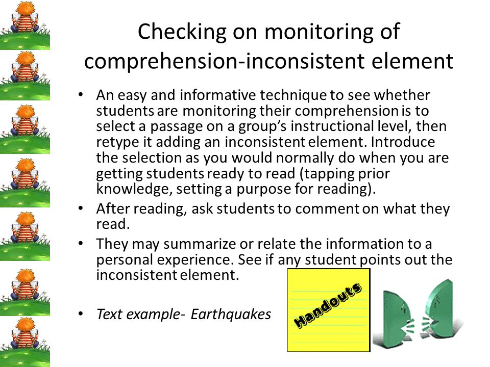 Checking on monitoring of comprehension-inconsistent element