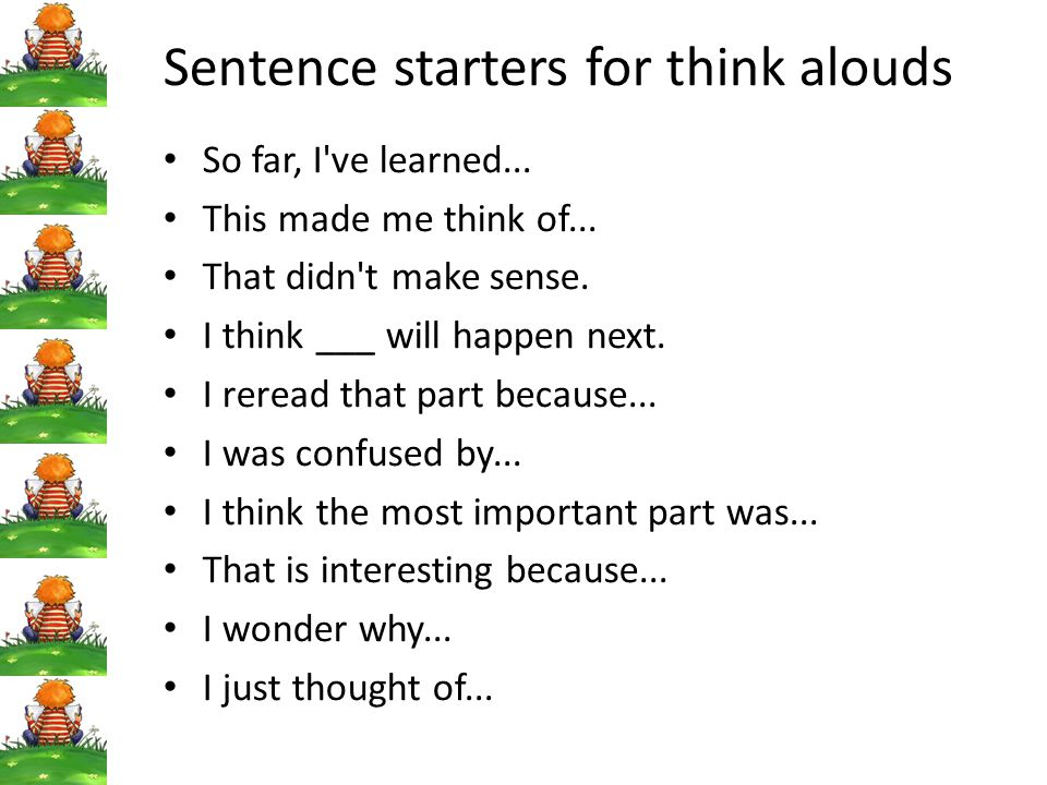 Sentence starters for think alouds