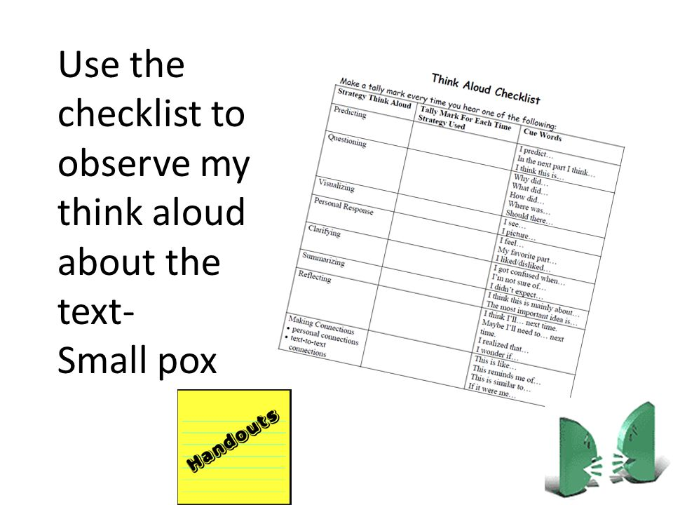 Use the checklist to observe my think aloud about the text-