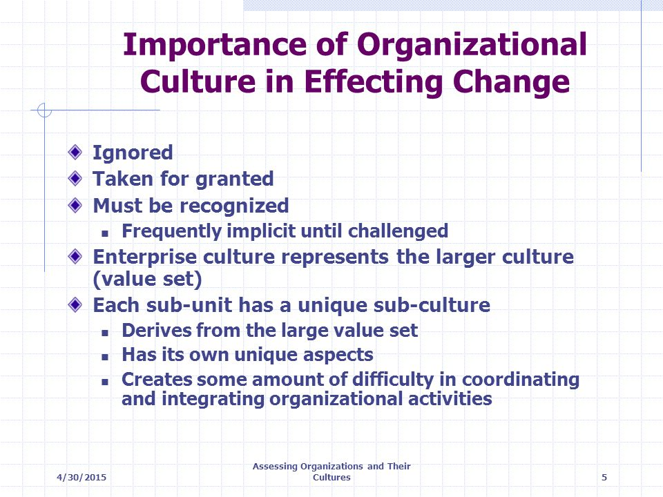 Importance of Organizational Culture in Effecting Change