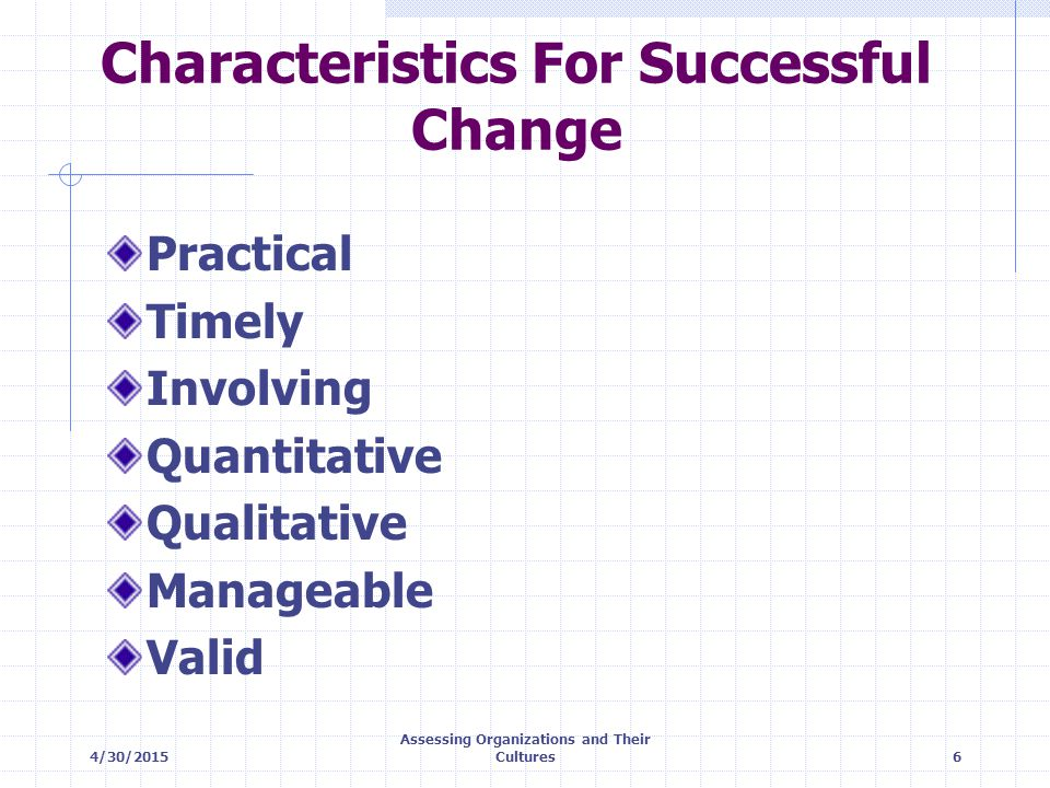 Characteristics For Successful Change
