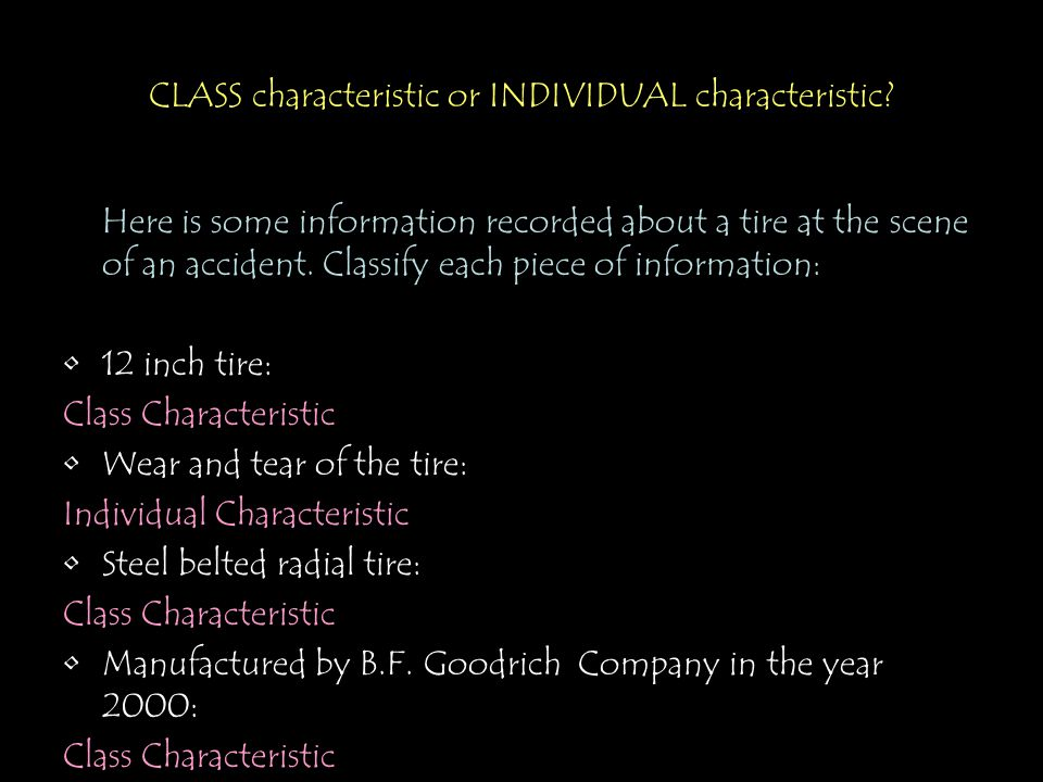 CLASS characteristic or INDIVIDUAL characteristic