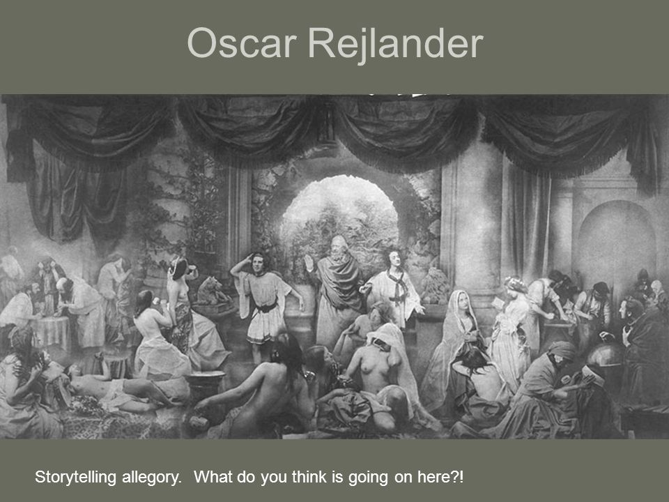 Oscar Rejlander Storytelling allegory. What do you think is going on here !